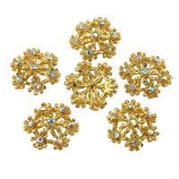 Zinklegierung Schmuck Cabochons, Blume, goldfarben plattiert, mit Strass, frei von Blei & Kadmium, 17x17x4mm, 10PCs/Tasche, verkauft von Tasche