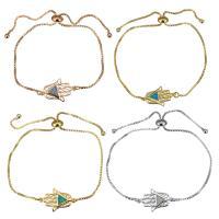 Messing Armband, mit Opal, Hamsa, plattiert, einstellbar & Kastenkette & für Frau, keine, 20x13mm, 1mm, Länge:ca. 5-8 ZollInch, 5SträngeStrang/Menge, verkauft von Menge