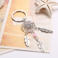 Zinklegierung Schlüsselanhänger, mit Glasperlen, Traumfänger, silberfarben plattiert, keine, 112mm, verkauft von Strang