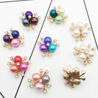 Zinklegierung Haar Accessories DIY Zubehöre, mit Kunststoff Perlen, goldfarben plattiert, mit Strass, keine, frei von Nickel, Blei & Kadmium, 20x20mm, 10PCs/Menge, verkauft von Menge