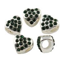Zinklegierung Herz Perlen, Platinfarbe platiniert, mit Strass, frei von Blei & Kadmium, 10x10x9mm, Bohrung:ca. 2.5mm, 10PCs/Tasche, verkauft von Tasche
