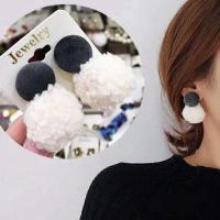 Plüsch Tropfen Ohrring, mit Zinklegierung, silberfarben plattiert, für Frau, frei von Nickel, Blei & Kadmium, 21mm, 42mm, verkauft von Paar