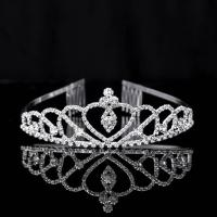 Krone, Messing, Platinfarbe platiniert, für Frau & mit Strass, frei von Nickel, Blei & Kadmium, 160x45mm, verkauft von PC