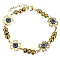 Edelstahl Armband, mit Harz, mit Verlängerungskettchen von 1Inch, Blume, goldfarben plattiert, böser Blick- Muster & für Frau, 17x13mm, 4.5x6mm, verkauft per ca. 7 ZollInch Strang