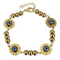 Edelstahl Armband, mit Harz, mit Verlängerungskettchen von 1Inch, flache Runde, goldfarben plattiert, böser Blick- Muster & für Frau, 17x13mm, 4.5x6mm, verkauft per ca. 7 ZollInch Strang
