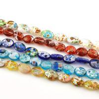 Inneren Blume-Lampwork-Beads, Lampwork, flachoval, innen Blume & Silberfolie, gemischte Farben, 13x10x5mm, Bohrung:ca. 1mm, Länge:ca. 15.7 ZollInch, 20SträngeStrang/Tasche, ca. 30PCs/Strang, verkauft von Tasche