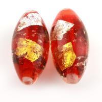 Goldsand & Silberfolie Lampwork Perlen, Olive, Goldfolie, 45x21x21mm, Bohrung:ca. 4mm, 5PCs/Tasche, verkauft von Tasche