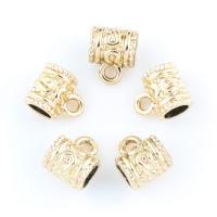 Zinklegierung Stiftöse Perlen, Rohr, goldfarben plattiert, frei von Blei & Kadmium, 9x11x7mm, Bohrung:ca. 1.5-5mm, 20PCs/Tasche, verkauft von Tasche