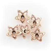 Zinklegierung Perlenkappe, Blume, Rósegold-Farbe plattiert, frei von Blei & Kadmium, 13x13x4mm, Bohrung:ca. 1.5mm, 20PCs/Tasche, verkauft von Tasche