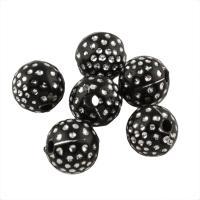 Acryl Schmuck Perlen, rund, Spritzlackierung, mit Strass, schwarz, 10mm, Bohrung:ca. 1.5mm, 500G/Tasche, verkauft von Tasche