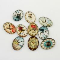 Glas Cabochons, plattiert, Aufkleber, 18x25x5.50mm, 20PCs/Tasche, verkauft von Tasche