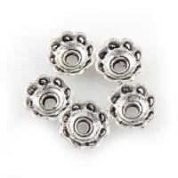 Zinklegierung Perlenkappe, Blume, antik silberfarben plattiert, frei von Blei & Kadmium, 9x9x4mm, Bohrung:ca. 2mm, 100G/Tasche, verkauft von Tasche
