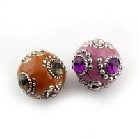 Indonesien Perle, mit Zinklegierung, Olive, antik silberfarben plattiert, mit Strass, keine, 20x22x22mm, Bohrung:ca. 1.5mm, verkauft von PC