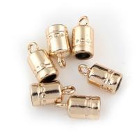 Zinklegierung Endkappe, goldfarben plattiert, frei von Blei & Kadmium, 8x16x8mm, Bohrung:ca. 2mm, 20PCs/Tasche, verkauft von Tasche