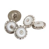 Edelstahl Ösenknöpfe, mit Harz, flache Runde, 18x18x10mm, Bohrung:ca. 2mm, 150PCs/Tasche, verkauft von Tasche