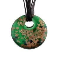Lampwork Halskette, mit Stoff, flache Runde, unisex & Goldsand, 50x50x10mm, verkauft per ca. 17.3 ZollInch Strang