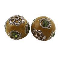 Indonesien Perle, mit Zinklegierung, rund, antik silberfarben plattiert, mit Strass, 20mm, Bohrung:ca. 1.5mm, verkauft von PC