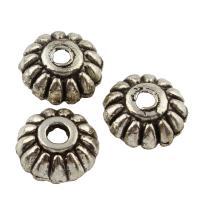 Zinklegierung Perlenkappe, antik silberfarben plattiert, frei von Blei & Kadmium, 10x4mm, Bohrung:ca. 2mm, 100G/Tasche, verkauft von Tasche