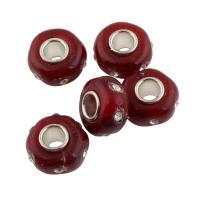 Lampwork Perle, mit Messing, Trommel, Platinfarbe platiniert, mit Strass, 13x13x7mm, Bohrung:ca. 4mm, 10PCs/Tasche, verkauft von Tasche