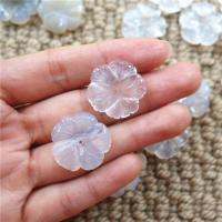 Weiß Chalcedon Haar Accessories DIY Zubehöre, Blume, 25mm, Bohrung:ca. 1mm, 50PCs/Menge, verkauft von Menge