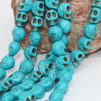 Türkis Perlen, Natürliche Türkis, mit Kristall Faden, Schädel, 14mm, Bohrung:ca. 1-2mm, Länge:ca. 15 ZollInch, 3SträngeStrang/Menge, 28PCs/Strang, verkauft von Menge