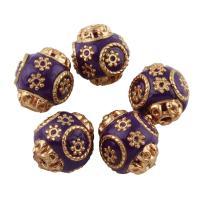Indonesien Perle, mit Zinklegierung, rund, goldfarben plattiert, 14x16, Bohrung:ca. 1.5mm, verkauft von PC