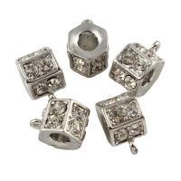 Zinklegierung Stiftöse Perlen, Sechseck, Platinfarbe platiniert, mit Strass, frei von Blei & Kadmium, 11x15x9mm, Bohrung:ca. 2mm, 10PCs/Tasche, verkauft von Tasche