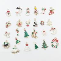 Zinklegierung Weihnachten Anhänger, goldfarben plattiert, Weihnachtsschmuck & Emaille & mit Strass & gemischt, frei von Nickel, Blei & Kadmium, 14x19mm, Bohrung:ca. 2-3mm, verkauft von Tasche