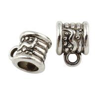 Zinklegierung Stiftöse Perlen, antik silberfarben plattiert, frei von Blei & Kadmium, 8x10, Bohrung:ca. 2x5mm, ca. 100PCs/Tasche, verkauft von Tasche