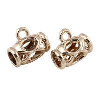 Zinklegierung Stiftöse Perlen, goldfarben plattiert, frei von Blei & Kadmium, 14x12mm, Bohrung:ca. 2x5mm, 20PCs/Tasche, verkauft von Tasche