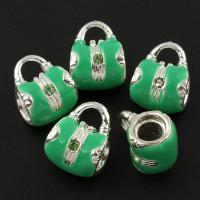 Zinklegierung Stiftöse Perlen, Handtasche, silberfarben plattiert, Emaille & mit Strass, frei von Blei & Kadmium, 14x11x9mm, Bohrung:ca. 3mm, 10PCs/Tasche, verkauft von Tasche