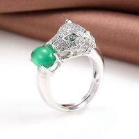 Messing Open -Finger-Ring, mit Achat, platiniert, verschiedenen Materialien für die Wahl & unisex, verkauft von PC