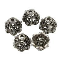 Zinklegierung Perlkappen, mit ABS-Kunststoff-Perlen, Blume, antik silberfarben plattiert, frei von Blei & Kadmium, 10x8mm, Bohrung:ca. 1.5mm, 10PCs/Tasche, verkauft von Tasche