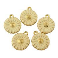 Zinklegierung Blume Anhänger, Chrysamthemum, goldfarben plattiert, Emaille, frei von Blei & Kadmium, 15x18x2mm, Bohrung:ca. 1.5mm, 10PCs/Tasche, verkauft von Tasche