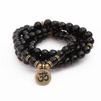 schwarzer Stein Wrap Armband, mit Zinklegierung, Messing antik Farbe überzogen, für Frau, verkauft per ca. 21 ZollInch Strang