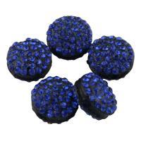 Zinklegierung Perle, mit Lehm pflastern, flache Runde, mit Strass, frei von Blei & Kadmium, 12x7mm, Bohrung:ca. 1.5mm, 10PCs/Tasche, verkauft von Tasche