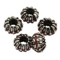 Strass Zinklegierung Perlen, Trommel, antik silberfarben plattiert, mit Strass, frei von Blei & Kadmium, 11x7.5mm, Bohrung:ca. 4.5mm, 10PCs/Tasche, verkauft von Tasche