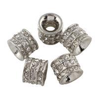 Zink Legierung Europa Perlen, Zinklegierung, Rohr, Platinfarbe platiniert, ohne troll & mit Strass, frei von Blei & Kadmium, 12x10mm, Bohrung:ca. 5mm, 10PCs/Tasche, verkauft von Tasche