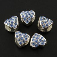 Zink Legierung Europa Perlen, Zinklegierung, flacher Herz, Platinfarbe platiniert, ohne troll & mit Strass, frei von Blei & Kadmium, 10x10x9mm, Bohrung:ca. 5mm, 10PCs/Tasche, verkauft von Tasche