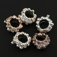Zink Legierung Europa Perlen, Zinklegierung, silberfarben plattiert, ohne troll & großes Loch, frei von Blei & Kadmium, 11x13x6mm, Bohrung:ca. 6mm, 10PCs/Tasche, verkauft von Tasche