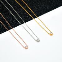Titanstahl Halskette, plattiert, Oval-Kette & für Frau & mit Strass, keine, verkauft per ca. 15.7 ZollInch Strang