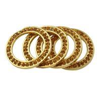 Zinklegierung Verbindungsring, Kreisring, goldfarben plattiert, mit Strass, frei von Blei & Kadmium, 27x2.5mm, Bohrung:ca. 18mm, 10PCs/Tasche, verkauft von Tasche