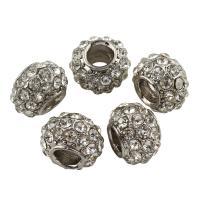 Zink Legierung Europa Perlen, Zinklegierung, Trommel, Platinfarbe platiniert, ohne troll & mit Strass, frei von Blei & Kadmium, 8x11mm, Bohrung:ca. 5mm, 10PCs/Tasche, verkauft von Tasche