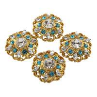 Zinklegierung Schmuck Cabochons, Blume, goldfarben plattiert, mit Strass, frei von Blei & Kadmium, 26x9mm, 10PCs/Tasche, verkauft von Tasche