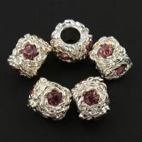 Zink Legierung Europa Perlen, Zinklegierung, Trommel, silberfarben plattiert, ohne troll & mit Strass, frei von Blei & Kadmium, 9x11mm, Bohrung:ca. 5mm, 10PCs/Tasche, verkauft von Tasche