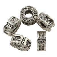 Strass Zinklegierung Perlen, flache Runde, antik silberfarben plattiert, mit Strass, frei von Blei & Kadmium, 11x5mm, Bohrung:ca. 4mm, 10PCs/Tasche, verkauft von Tasche