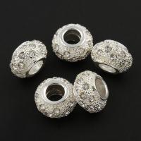 Zink Legierung Europa Perlen, Zinklegierung, Trommel, silberfarben plattiert, mit Strass, frei von Blei & Kadmium, 8x13mm, Bohrung:ca. 5mm, 10PCs/Tasche, verkauft von Tasche