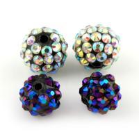 Zinklegierung Perle, mit Lehm pflastern, rund, verschiedene Stile für Wahl & mit Strass, frei von Blei & Kadmium, Bohrung:ca. 2mm, 10PCs/Tasche, verkauft von Tasche