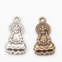 Charakterform Zinklegierung Anhänger, Buddha, plattiert, keine, 15x13x3mm, Bohrung:ca. 2-3mm, 50PCs/Menge, verkauft von Menge