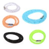 Zinklegierung Mesh- Armband, mit Kunststoff, silberfarben plattiert, unisex, keine, frei von Nickel, Blei & Kadmium, verkauft per ca. 16 ZollInch Strang